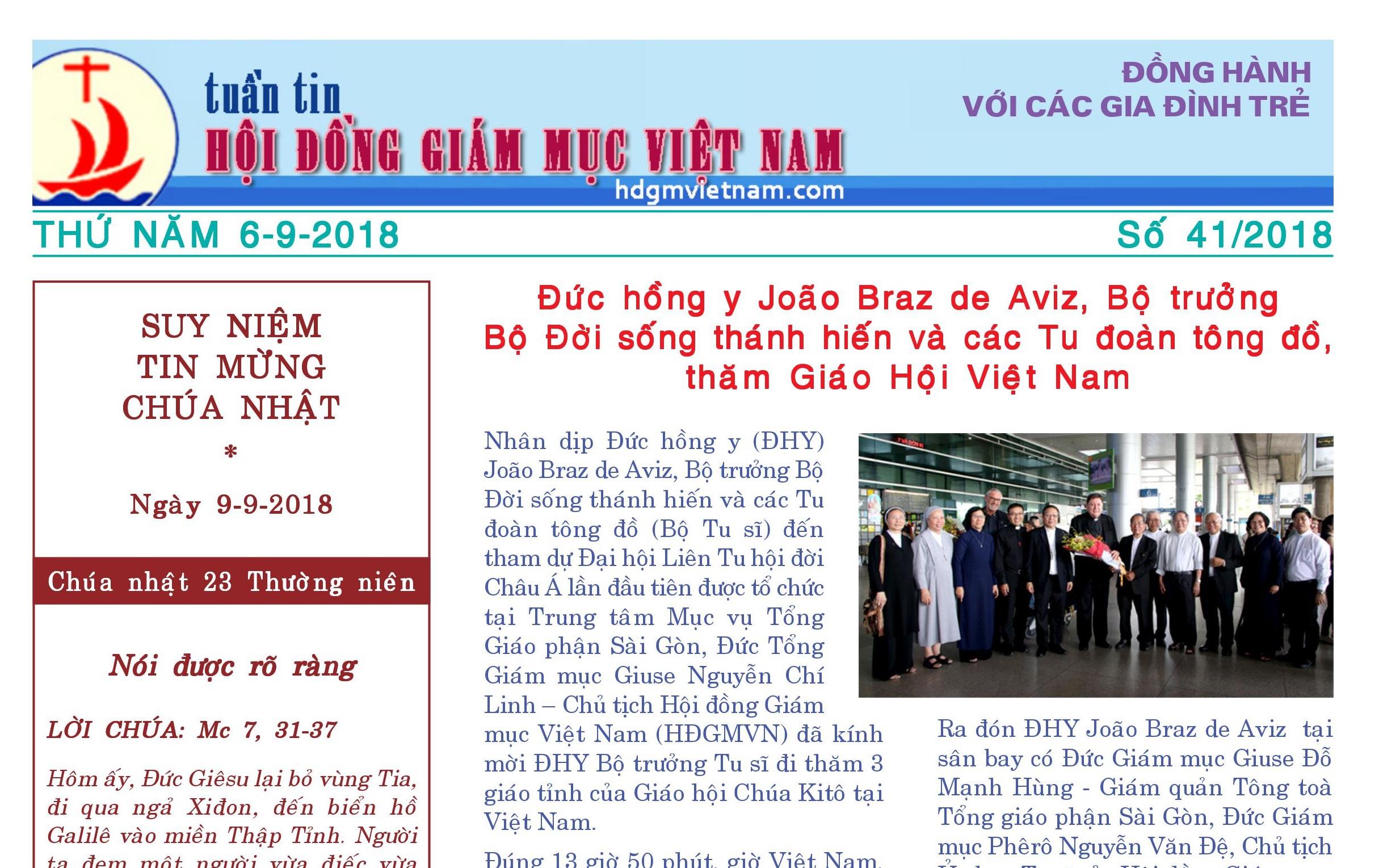 Tuần tin Hội đồng Giám mục Việt Nam số 41/2018