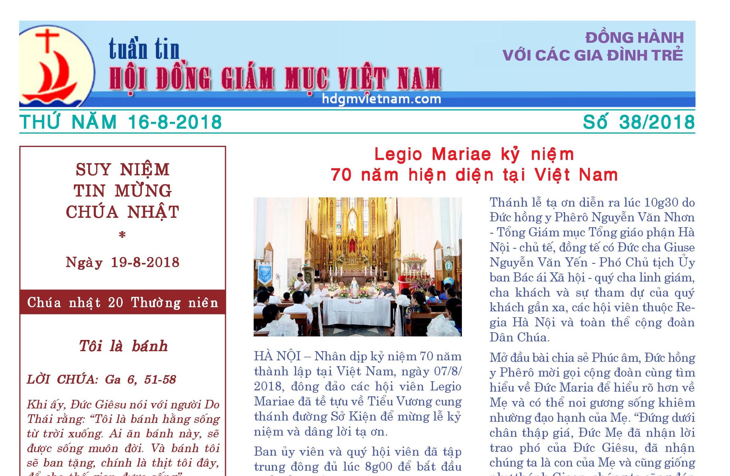 Tuần tin Hội đồng Giám mục Việt Nam số 38/2018