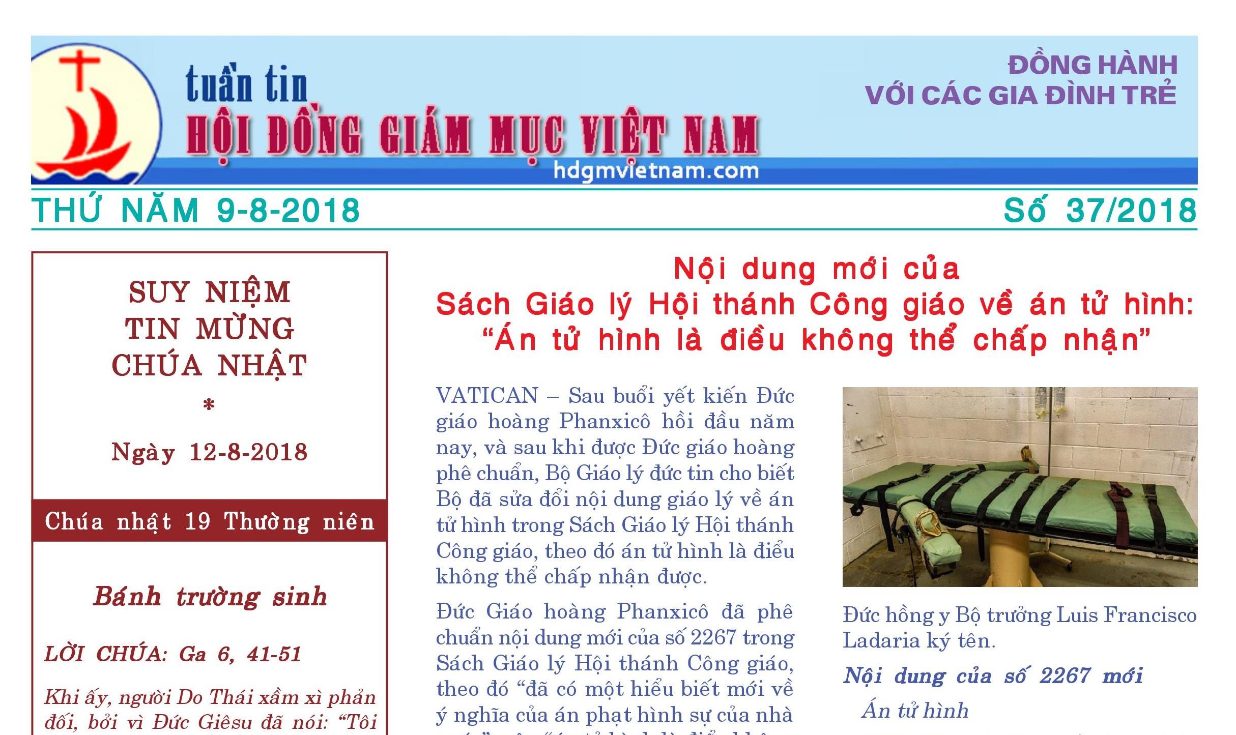 Tuần tin Hội đồng Giám mục Việt Nam số 37/2018