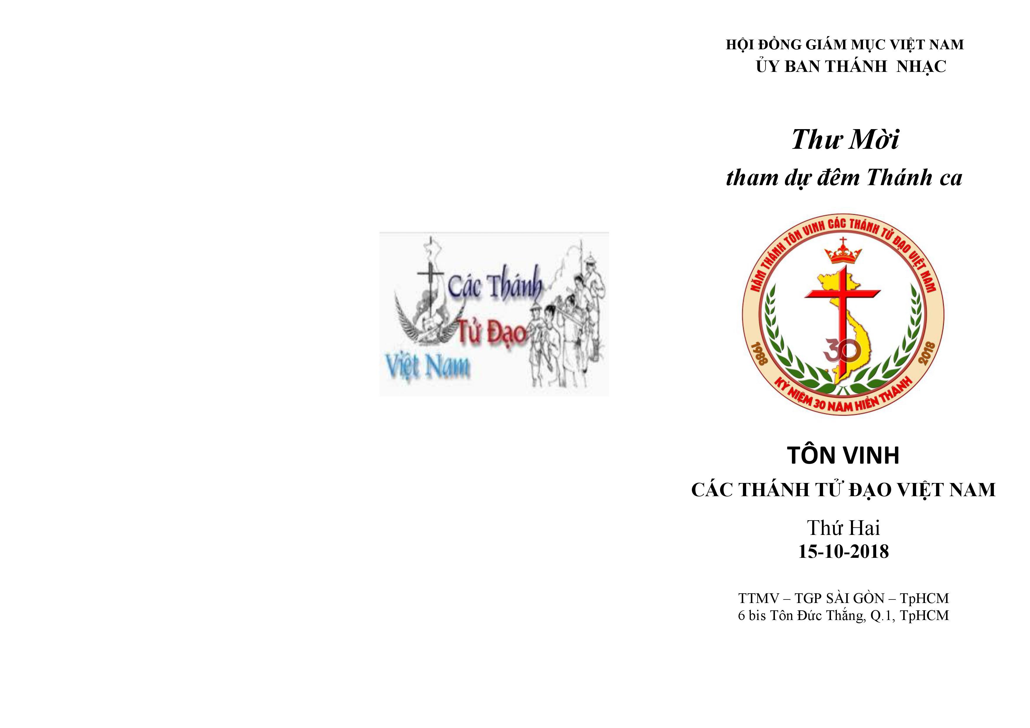 Uỷ ban Thánh nhạc mời tham dự đêm thánh ca tôn vinh các  thánh Tử Đạo Việt Nam