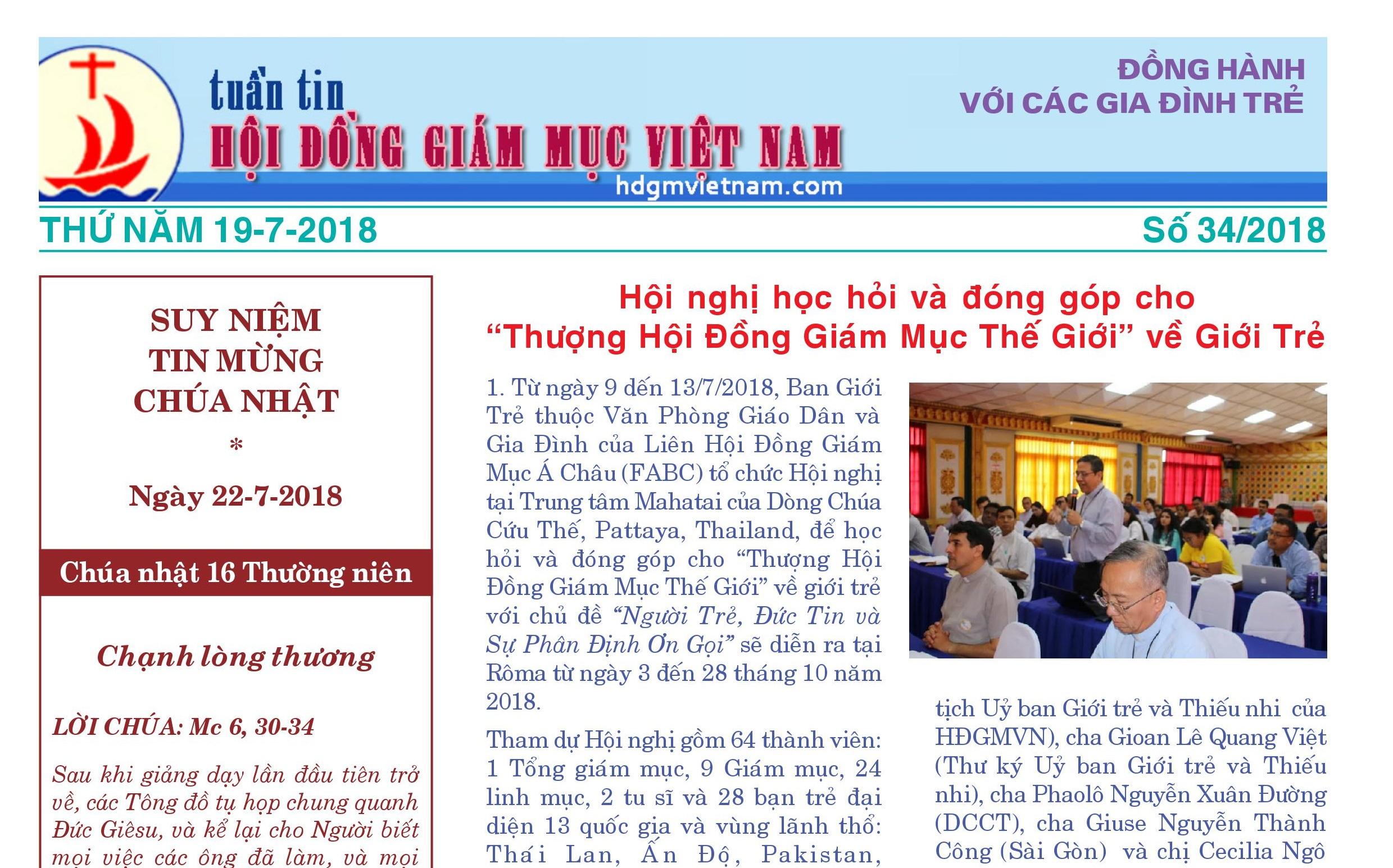 Tuần tin Hội đồng Giám mục Việt Nam số 34/2018