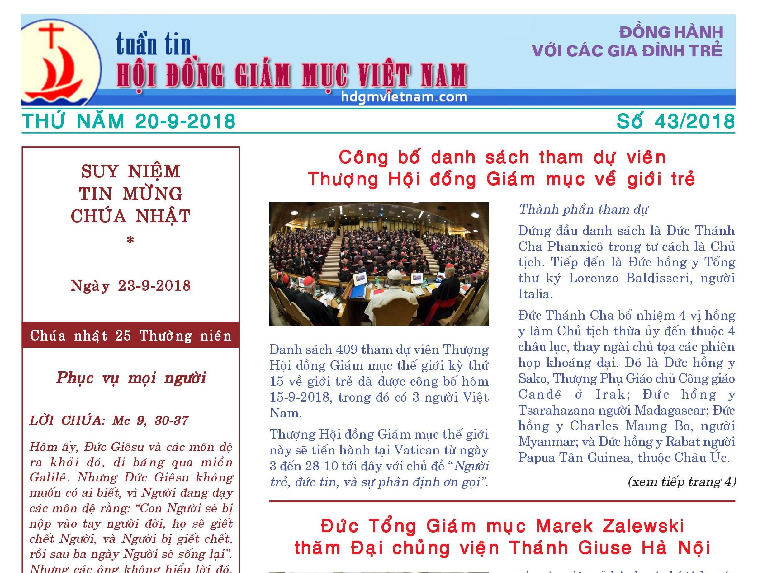 Tuần tin Hội đồng Giám mục Việt Nam số 43/2018