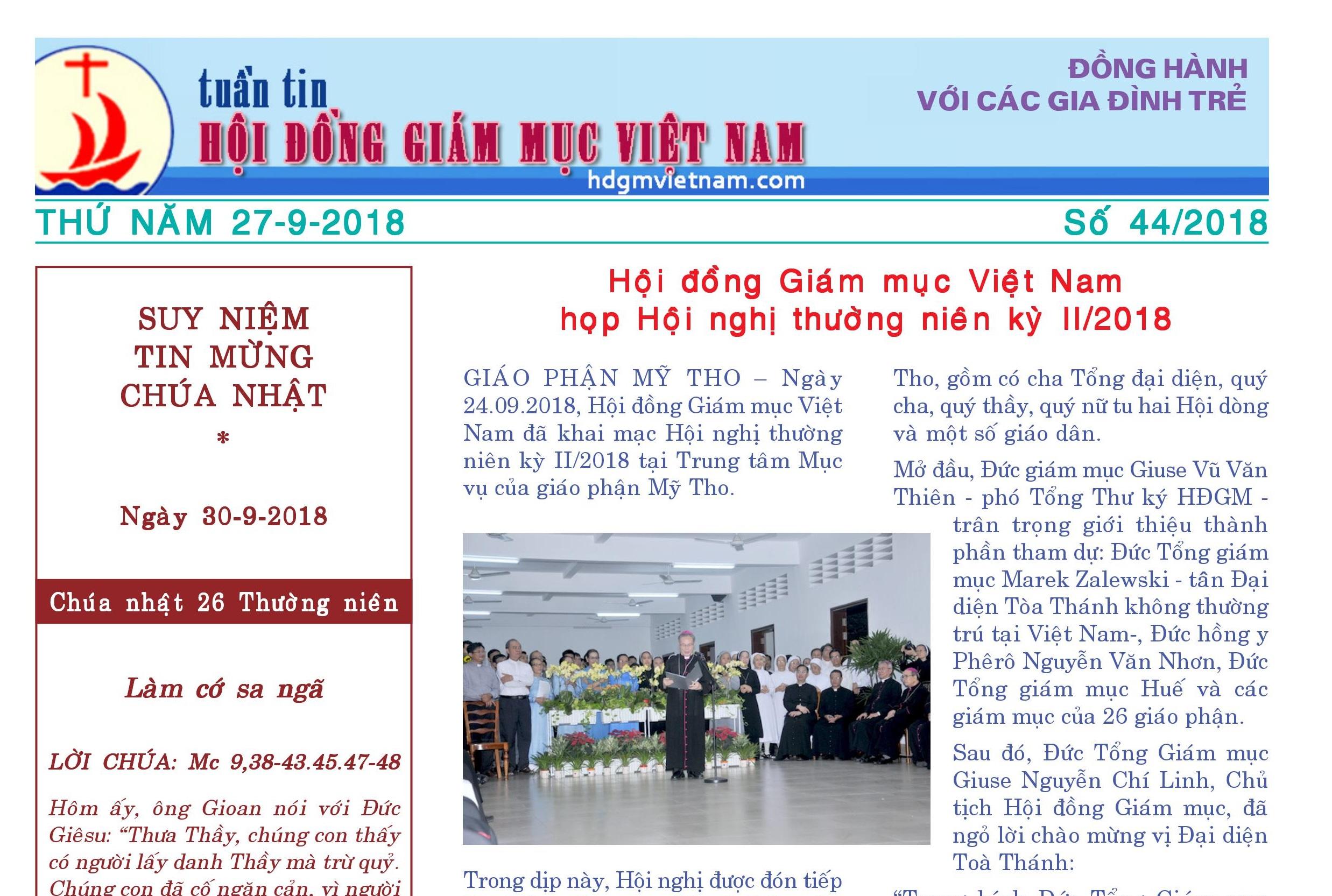 Tuần tin Hội đồng Giám mục Việt Nam số 44/2018