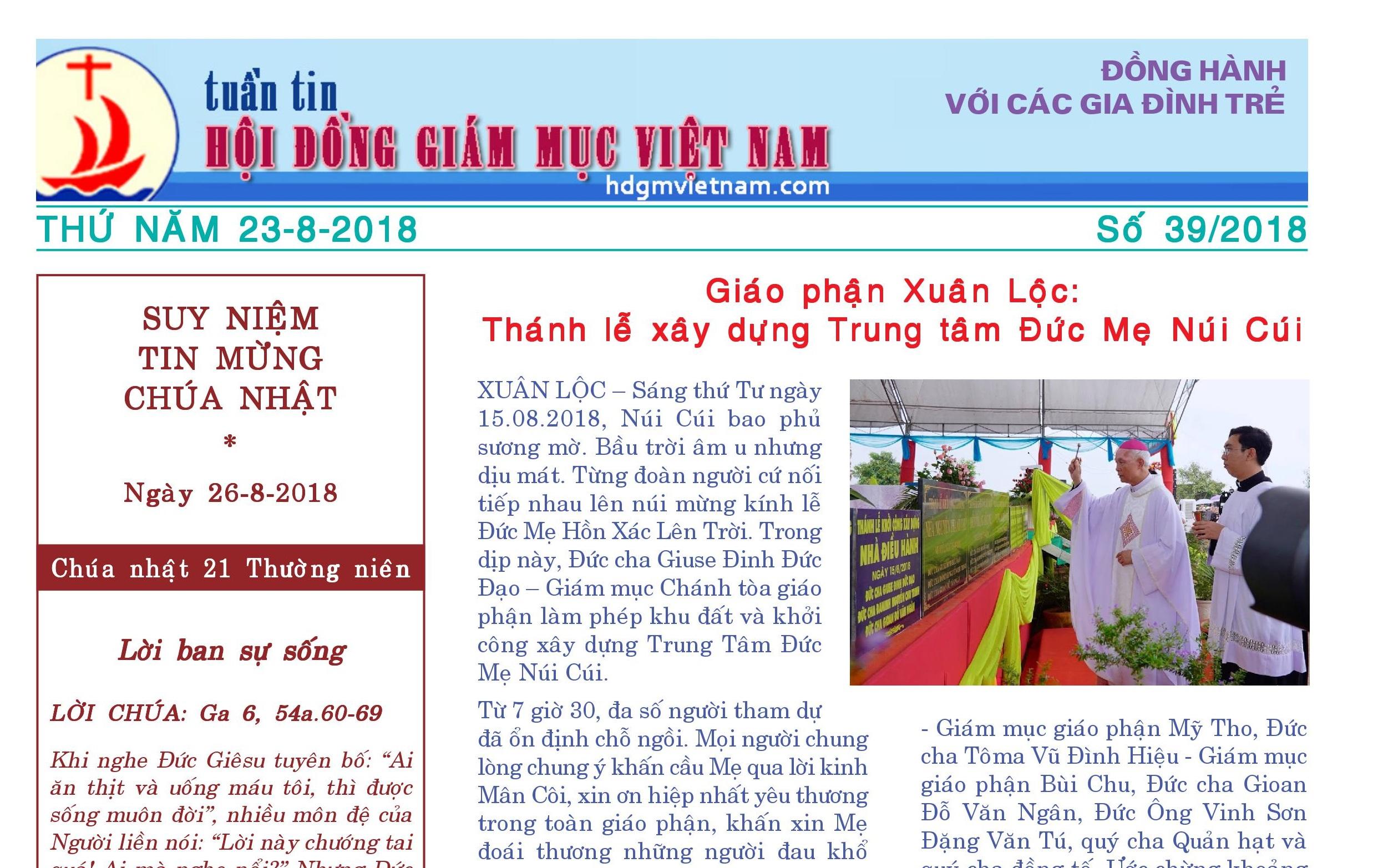 Tuần tin Hội đồng Giám mục Việt Nam số 39/2018