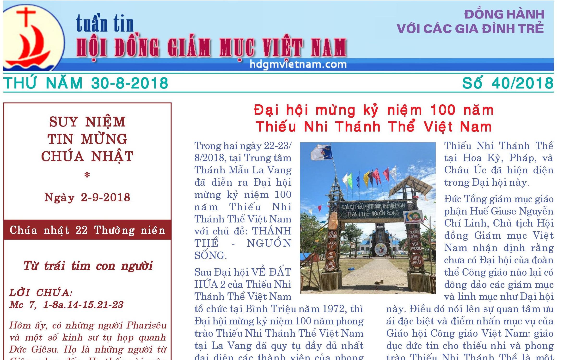 Tuần tin Hội đồng Giám mục Việt Nam số 40/2018