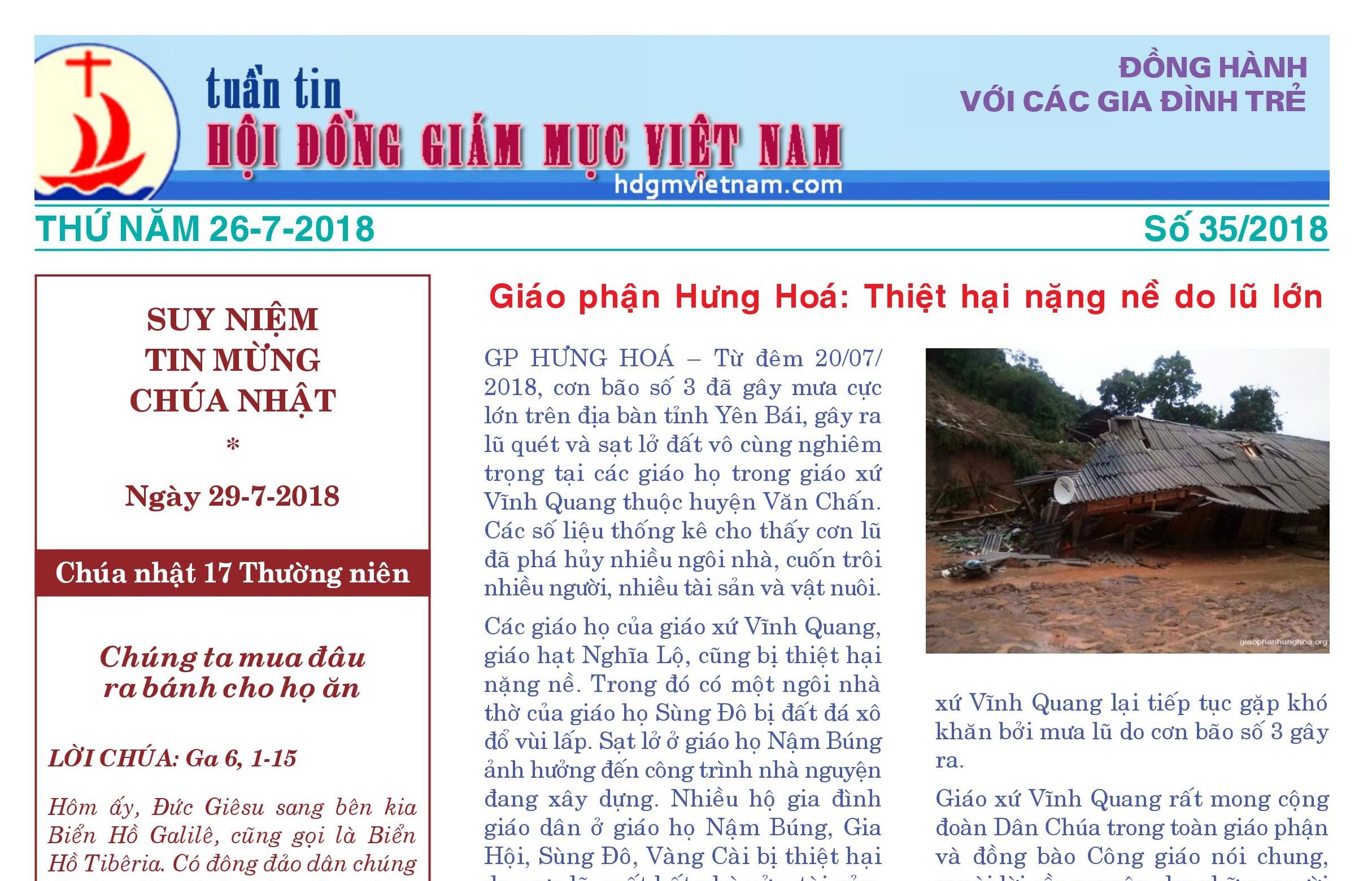Tuần tin Hội đồng Giám mục Việt Nam số 35/2018