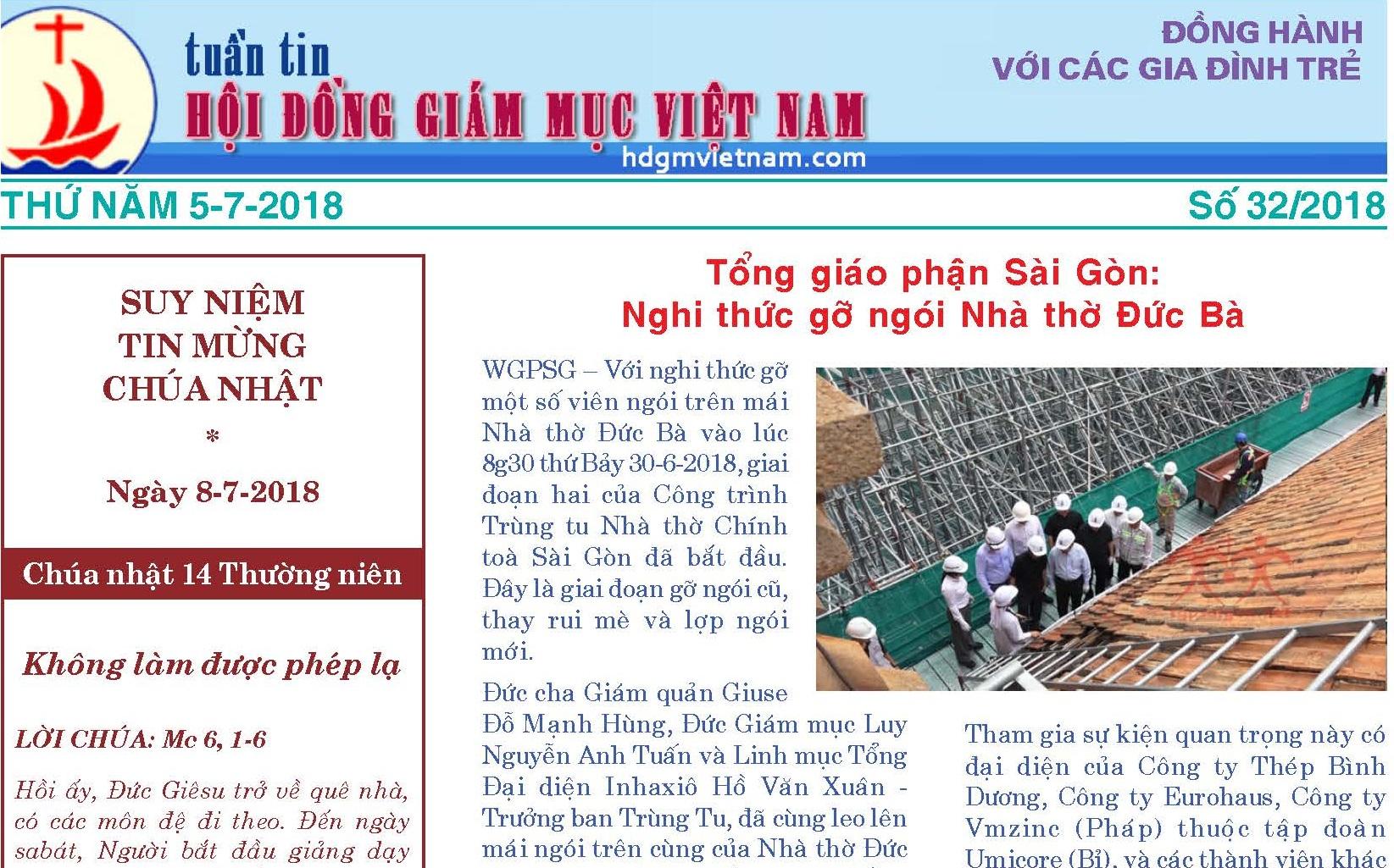 Tuần tin Hội đồng Giám mục Việt Nam số 32/2018