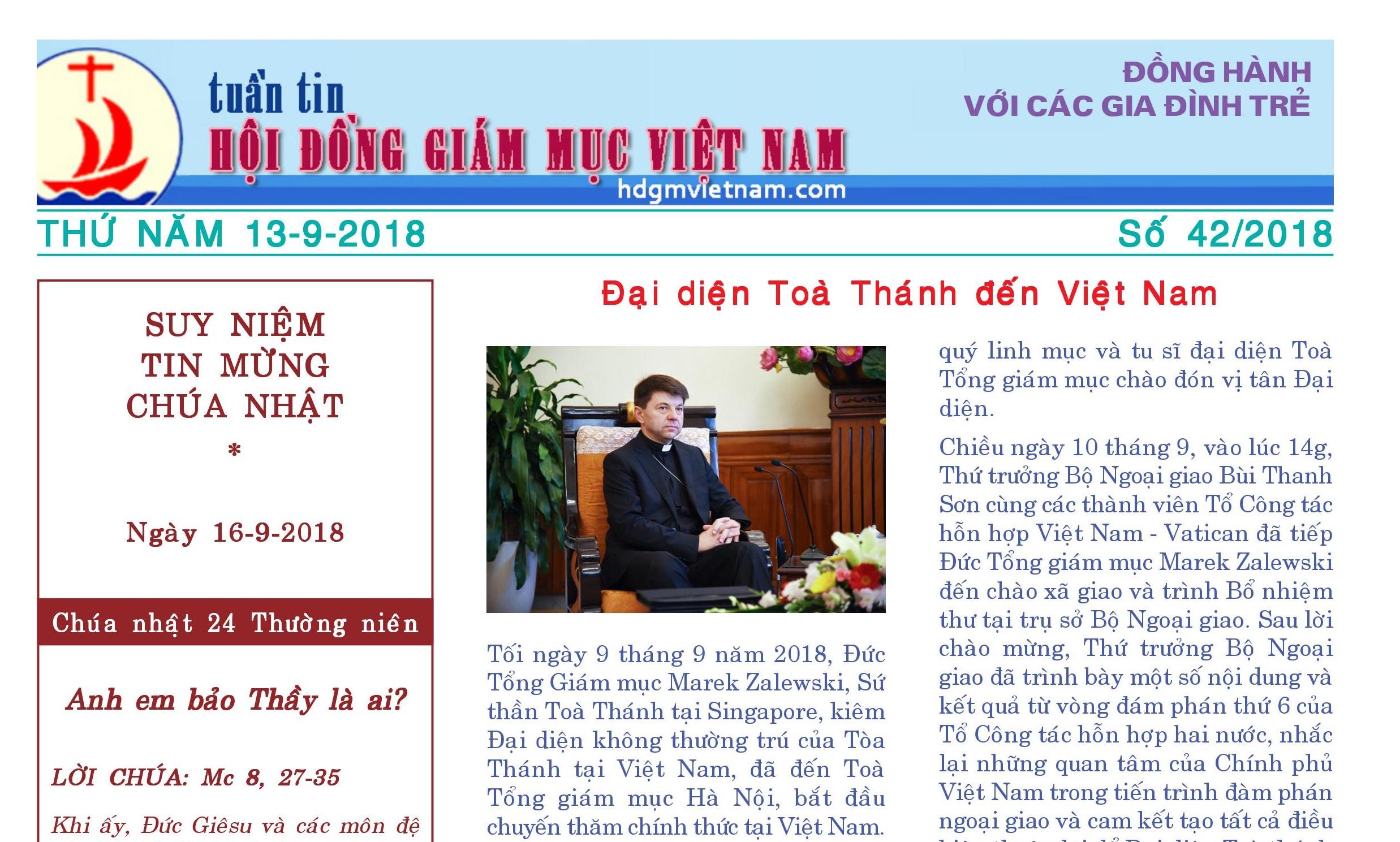 Tuần tin Hội đồng Giám mục Việt Nam số 42/2018