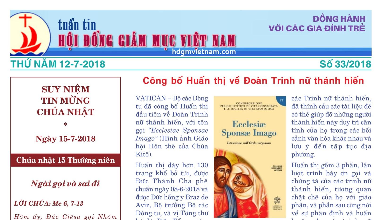 Tuần tin Hội đồng Giám mục Việt Nam số 33/2018