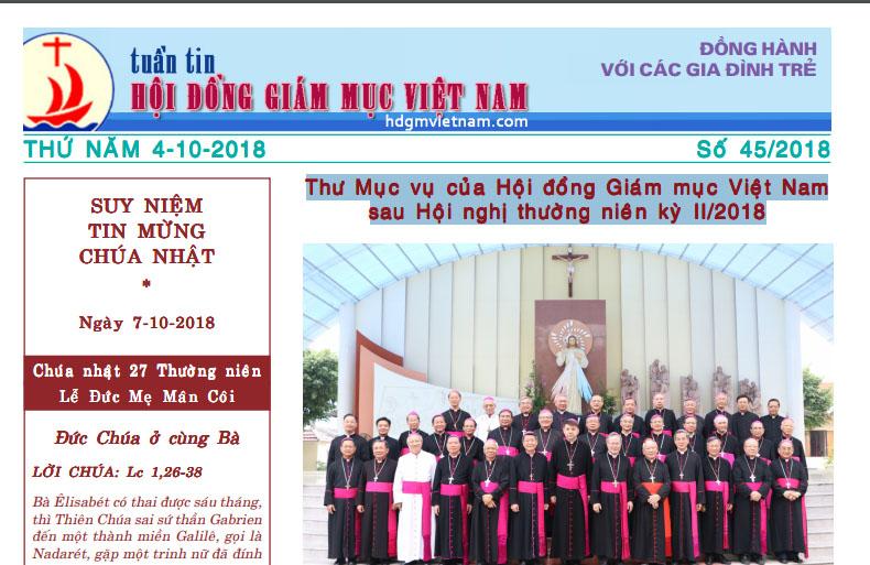 Tuần tin Hội đồng Giám mục Việt Nam số 45/2018