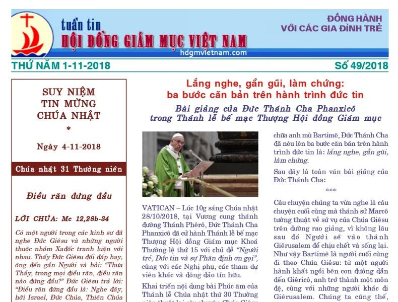 Tuần tin Hội đồng Giám mục Việt Nam số 49/2018