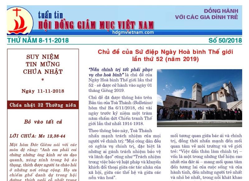 Tuần tin Hội đồng Giám mục Việt Nam số 50/2018