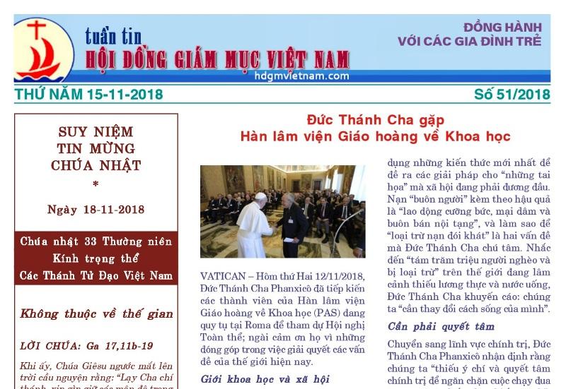 Tuần tin Hội đồng Giám mục Việt Nam số 51/2018 15/11/2018