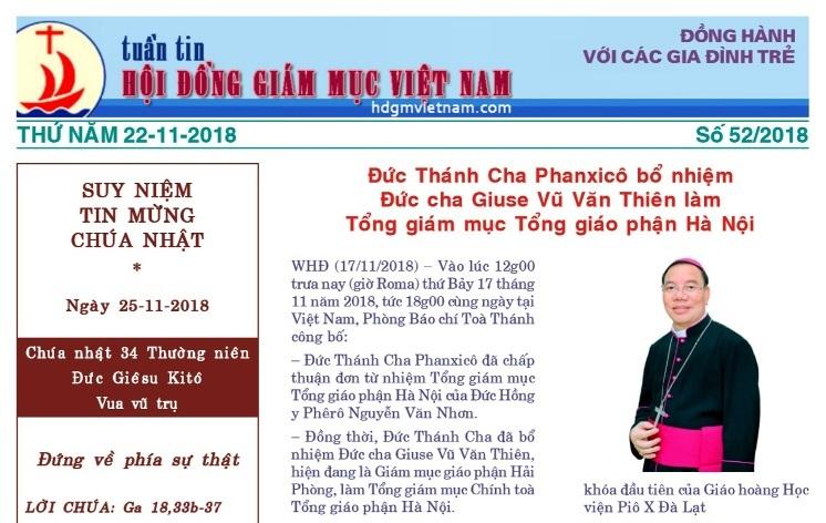 Tuần tin Hội đồng Giám mục Việt Nam số 52/2018