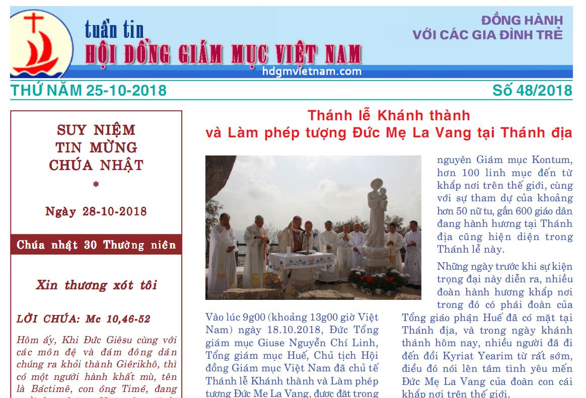 Tuần tin Hội đồng Giám mục Việt Nam số 48/2018