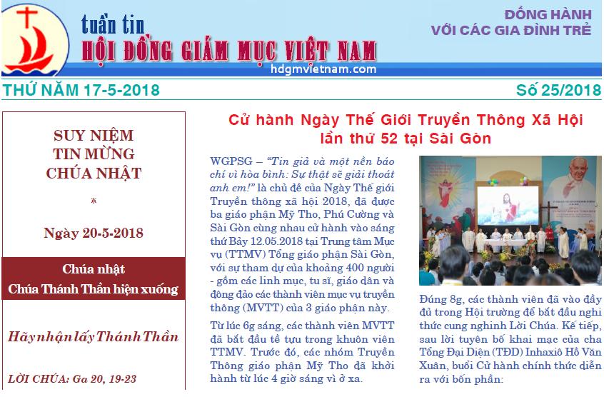 Tuần tin Hội đồng Giám mục Việt Nam số 25/2018