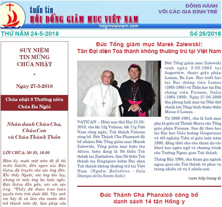 Tuần tin Hội đồng Giám mục Việt Nam số 26/2018
