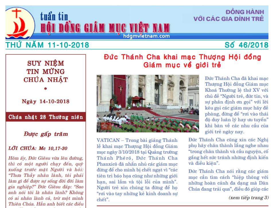 Tuần tin Hội đồng Giám mục Việt Nam số 46/2018