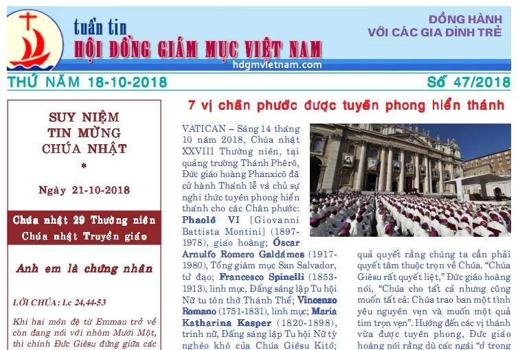 Tuần tin Hội đồng Giám mục Việt Nam số 47/2018