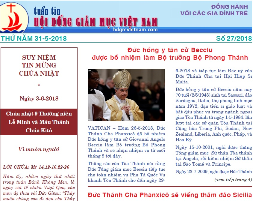 Tuần tin Hội đồng Giám mục Việt Nam số 27/2018