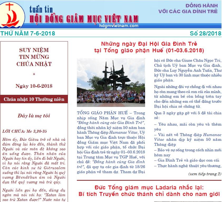 Tuần tin Hội đồng Giám mục Việt Nam số 28/2018