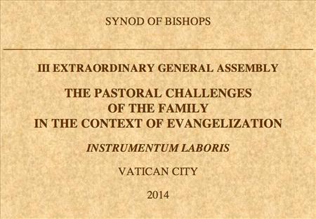 Tài Liệu Làm Việc của Thượng Hội đồng Giám mục về Gia đình (5–19/10/2014)
