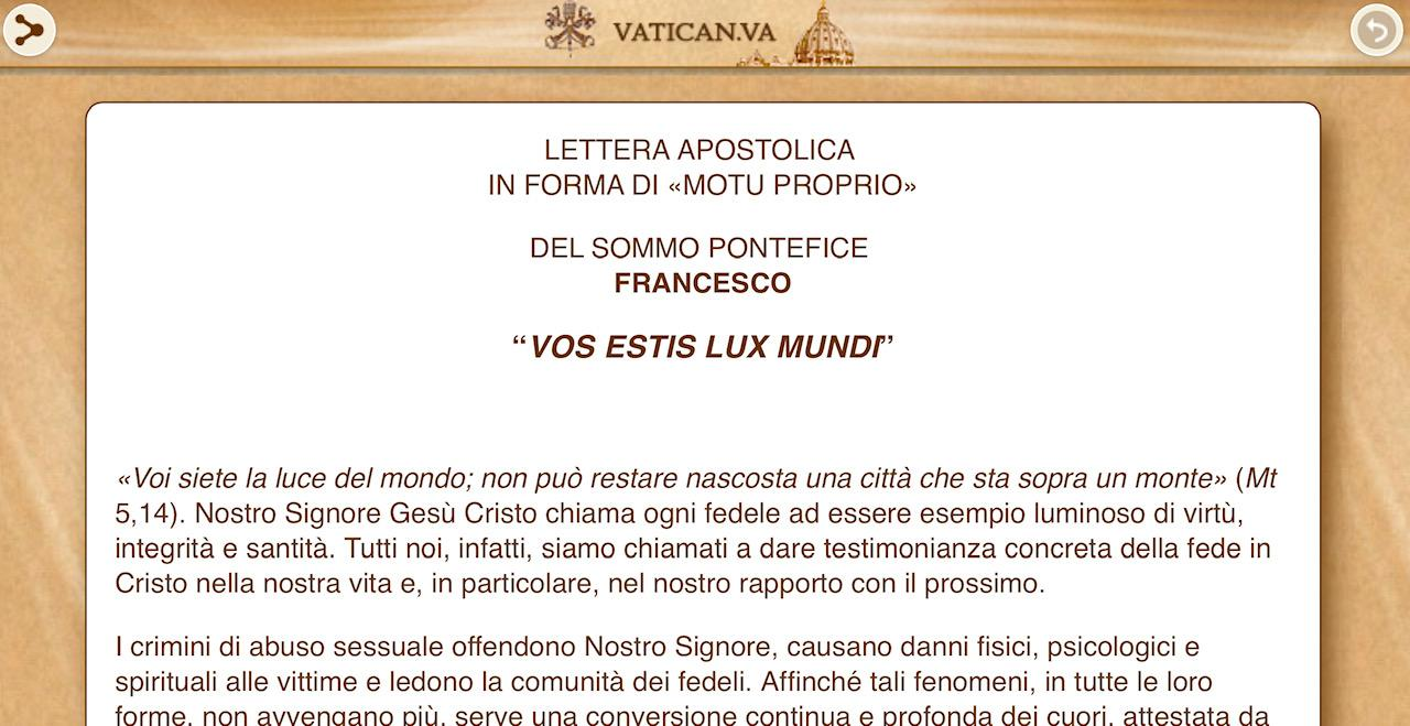 """Nội dung tổng quát Tự sắc """"Vos estis lux mundi"""" của Đức thánh cha Phanxicô"""